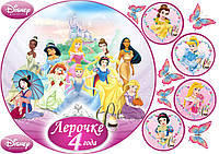 Печать вафельной (рисовой) или сахарной картинки Все принцессы на торт