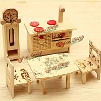 Кукольный дом мини деревянная мебель шкаф стол стул часы декора кукольный игры дети игрушки