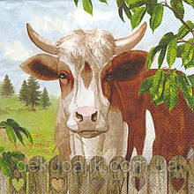 Рідкісні декупажні серветки Корова за парканом 6025