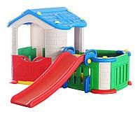 Большой детский игровой домик с горкой, фото 1