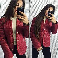 Стильная демисезонная курточка на кнопках, бордовая