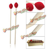 1 пара Marimba молотки клен ручки красная голова клавиатуры маримбу