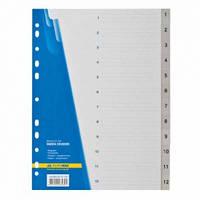 Цифровой индекс-разделительА4 BuromaxBM.3212-09, для регистраторов, 12 поз.,BM.3212-09 серый