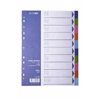 Разделитель листов А4 Economix, пластик, 10 разделов, цветной E30803
