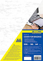 Обложка А4 картон под кожу 50л Buromax ВМ 0580 белая