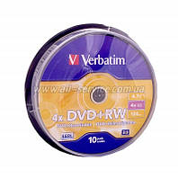 Диск DVD-RW Verbatim 4.7Gb cake box 25pcs silver 4х 12824