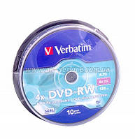 Диск DVD-RW Verbatim 4.7Gb cake box 10pcs  4х 08405