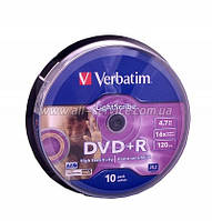 Диск DVD+RW Verbatim 4.7Gb cake box 10pcs silver 4х  043488