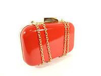 Вечерний лаковый мини-клатч, сумочка на цепочке Rose Heart 9021 красная