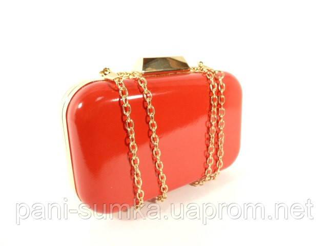 a6be10e761ea Вечерний лаковый мини-клатч, сумочка на цепочке Rose Heart 9021 красная,  фото 1
