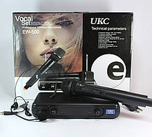 Радиомикрофон UKC EW-500, база + 2 микрофона