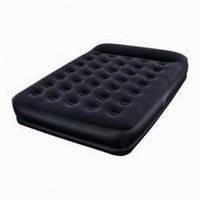 Велюр-кровать 67457 черная с подголовником, 203-152-38см с насосом
