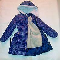 Куртка - пальто осень-зима на девочек в горошек 116-122-128-134 см