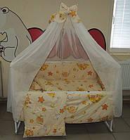 Детский комплект постельного белья бежевое Тэдди в гамаке Bonna 9 в 1 + ДЕРЖАТЕЛЬ ДЛЯ БАЛДАХИНА В ПОДАРОК!