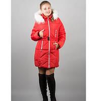 Зимняя куртка Дори р. 46-54 красный мех белый