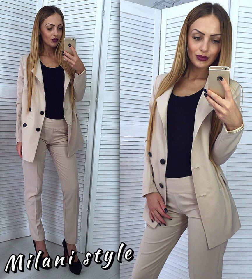 d1a3f3d8938 Красивый женский костюм  удлиненный пиджак на пуговицах и приталенные  брюки