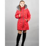 Зимняя куртка Дори р. 46;52;54 красный мех серый