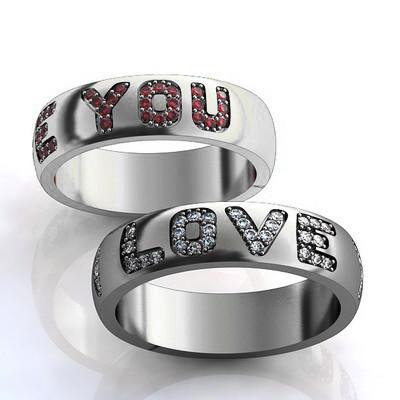 Кольцо  женское серебряное I Love You с камнями КЦ-18 Б