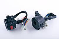 """Блоки кнопок керма (пара) на мотоцикл з двигуном CB/CG 125-150 (чорні) """"EVO"""""""