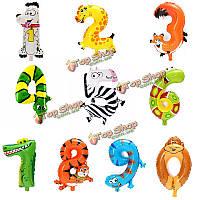 Милый животных мультфильм арабская цифра воздушные шары из фольги номер Надувной Детские игрушки партии свадебный декор