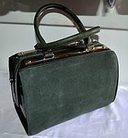 Женская сумка  GERNAS зеленая замша и кожзаменитель