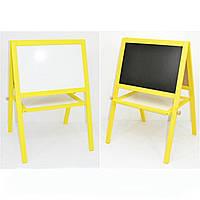 Мольберт напольный окрашенный (Желтый)  Игруша двухсторонний 2 в 1 с магнитной доской, фото 1