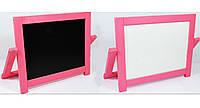 Мольберт настольный окрашенный (розовый) Игруша двухсторонний 2 в 1 с магнитной доской