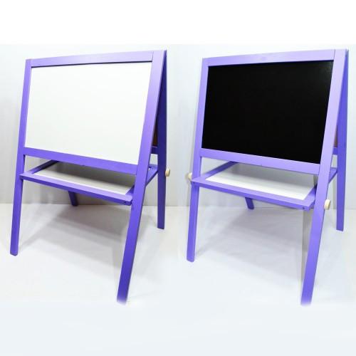 Мольберт напольный окрашенный (фиолетовый)  Игруша двухсторонний 2 в 1 с магнитной доской