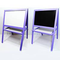 Мольберт напольный окрашенный (фиолетовый)  Игруша двухсторонний 2 в 1 с магнитной доской, фото 1
