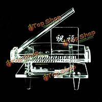 Прозрачный движение серебра рука трещина фортепьяно музыкальная шкатулка замок хрусталя