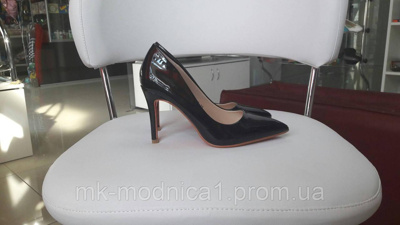 Женские Туфли черный лак каблук 9см