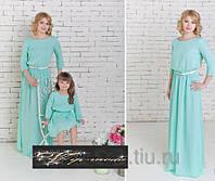 Легкое платье с пояском мама и дочка