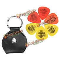Брелок для ключей гитары держатель выбор медиатор сумка черный корпус с 6 кирки