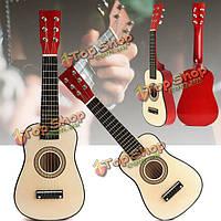 """Красный 23"""" начинающих практиковать акустическая гитара ж / 6 струны для детей детей"""