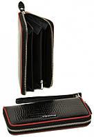 Женский кожаный кошелек клатч на молнии Alessandro Paoli лаковый натуральная кожа