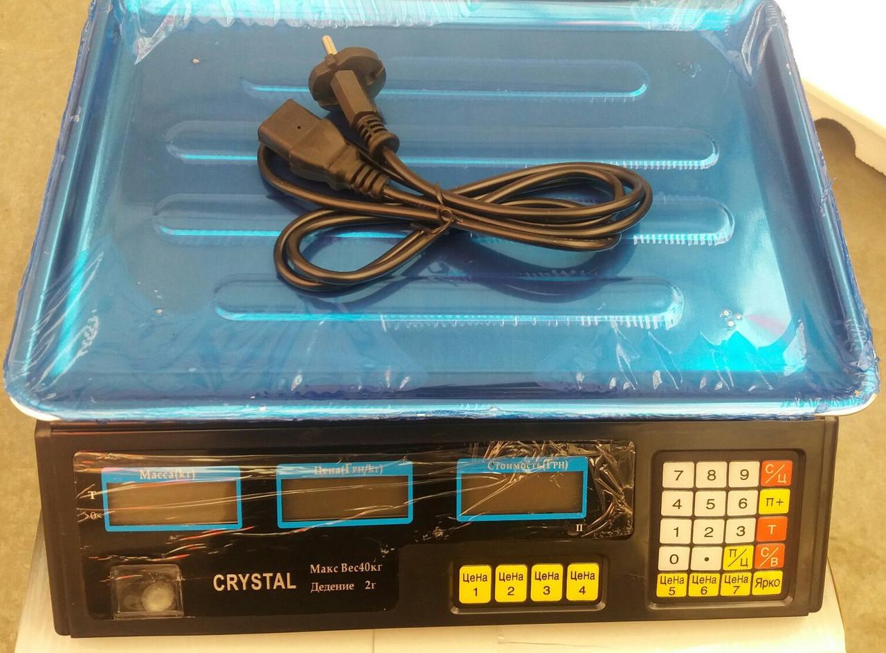 Весы торговые CRYSTAL 40 кг электронные (счетчик цены)