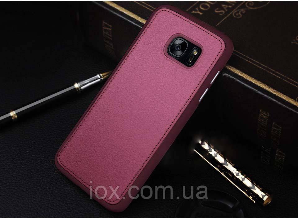 Бордовый силиконовый чехол с кожанной накладкой  для Samsung Galaxy S7