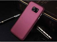 Бордовый силиконовый чехол с кожанной накладкой  для Samsung Galaxy S7, фото 1