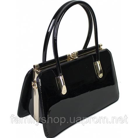 Женская сумка из лаковой кожи черного цвета, фото 2