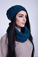 Комплект вязаный шапочка+шарфик