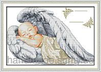 NKF К777 Маленький ангел, набор для вышивания нитками с печатью