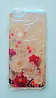 Чехол-накладка Пластик Силиконовые грани под углом блестит Цветы для Apple iPhone 6/6s Прозрачный