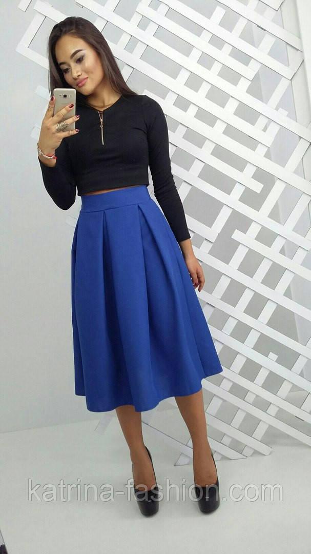 Женская юбка-солнце миди из габардина