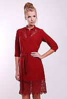 Платье с кружевом макраме DEBI бордо