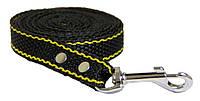 Поводок для собак My Wuf нейлон «черный с желтой полосой» 2 метра 20 мм