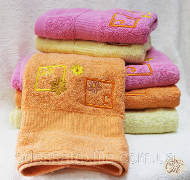 Полотенце банное Квадрат персиковый