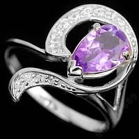 Кольцо серебряное 925 с натур. аметистом р17.35
