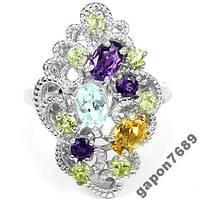 Кольцо серебряное 925 с натуральн. камнями  р18.7