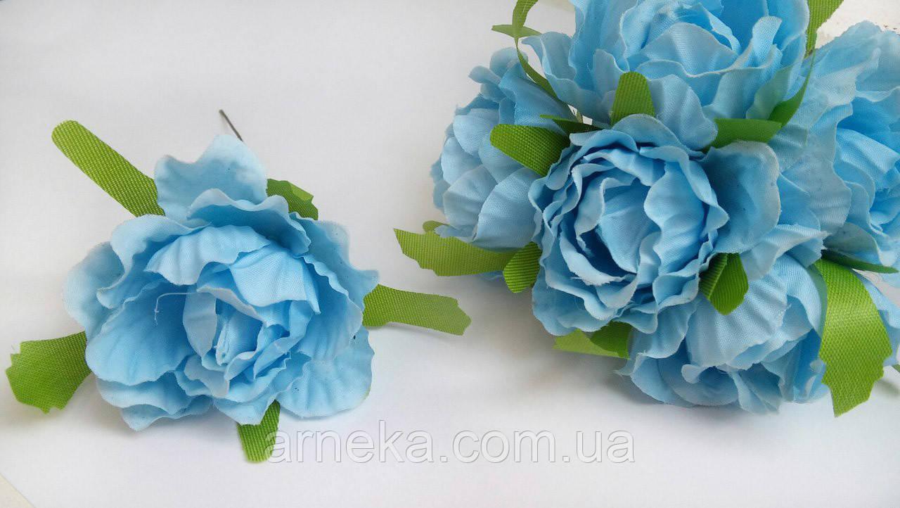 Роза из ткани 4-5 см голубая (цена за 1 цветок)