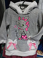 Детская тёплая толстовка с капюшоном для девочек до 6-7 лет.